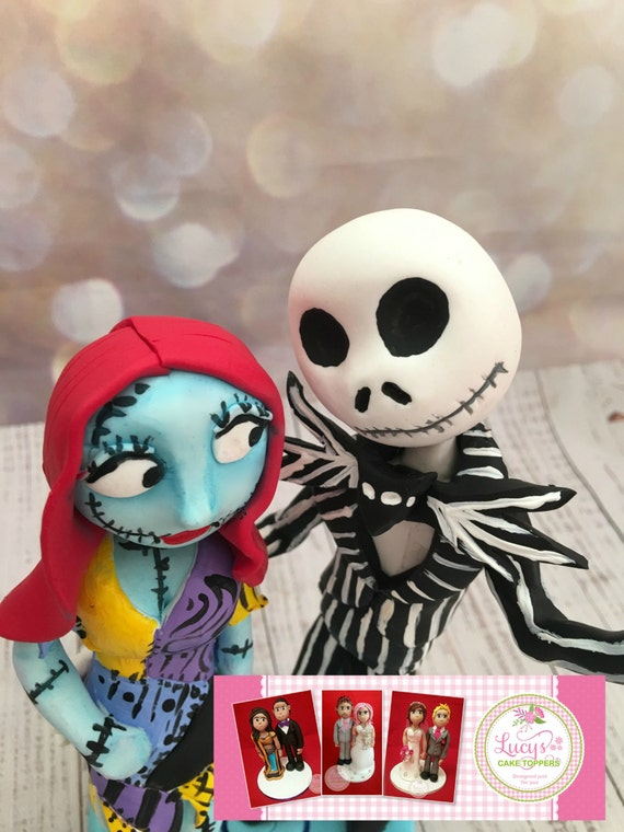 Wedding cake Topper Nightmare Before Christmas/ Halloween - a lovely keepsake - Fully Sculpted/Standing