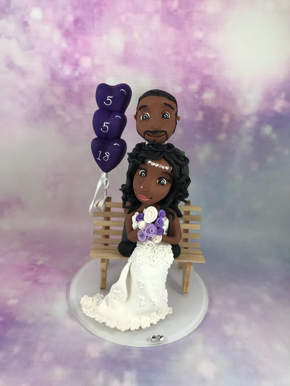 Wedding cake Topper sitting on bench Fully Personalised a lovely keepsake - Bride and Groom/Same Sex/Wedding couple