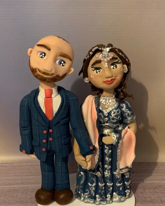 Personalised Wedding Cake Topper - figurines bride and groom/Same Sex Couple mixed race