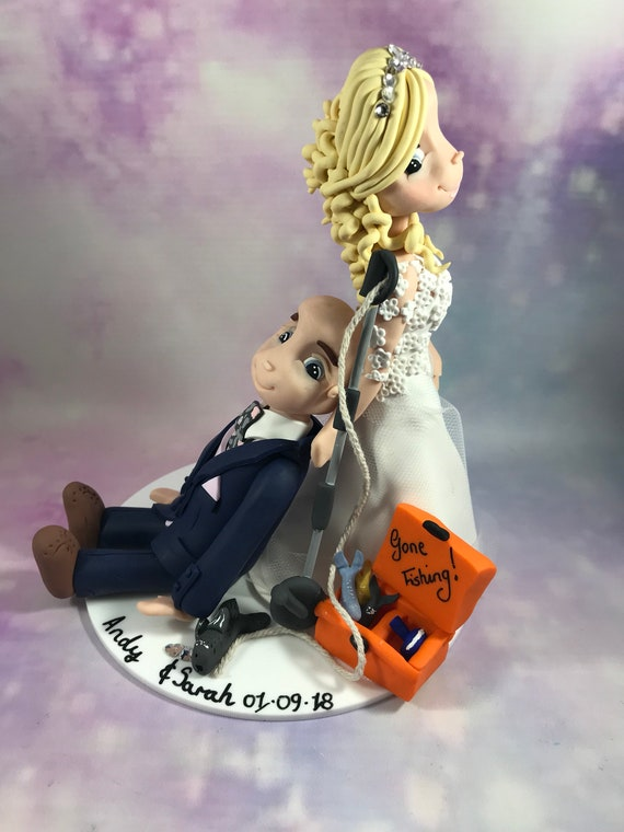 Fully personalised clay Wedding Cake Topper highly detailed and fully sculpted Keepsake -Bespoke premium service - fishing