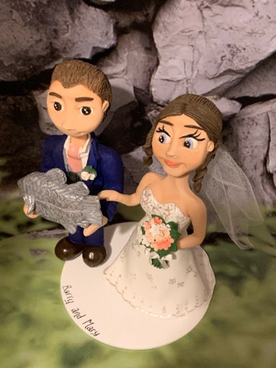 Personalised Wedding Cake Topper - figurines bride and groom/Same Sex Couple - Fishing mad couple/Fishing Rod