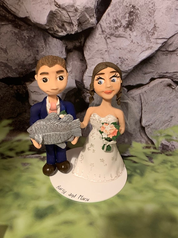 Personalised Wedding Cake Topper - fishing theme. Bride and groom/same sex wedding - funny cake topper