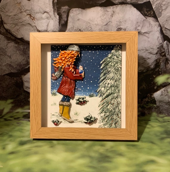 "Original framed Mixed media art - whimsy girl in the snow. - ""Life is better with a hot chocolate"""