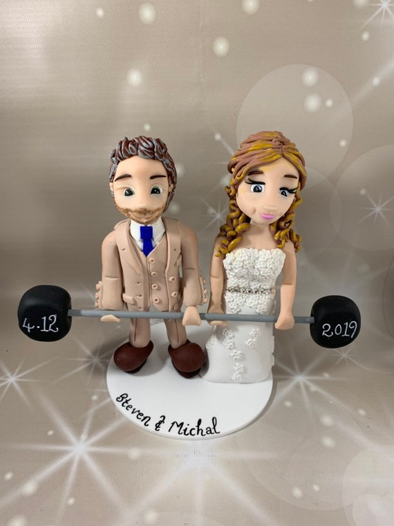 Personalised Wedding Cake Topper Bride and Groom weightlifting /same sex couple