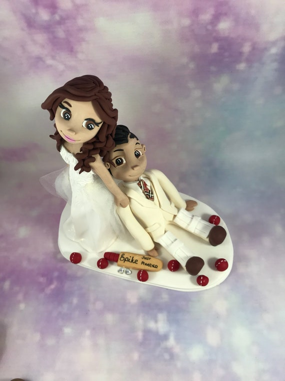 personalised clay Wedding Cake Topper cricket/Sport - bride dragging groom