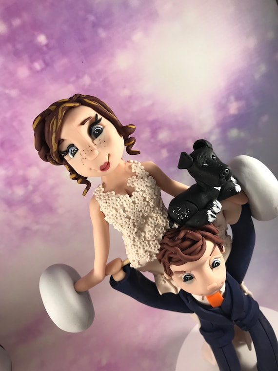 Personalised Wedding Cake Topper Bride and Groom Weightlifting