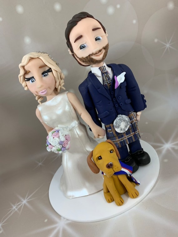 Bride and Groom in kilt cake topper - Personalised