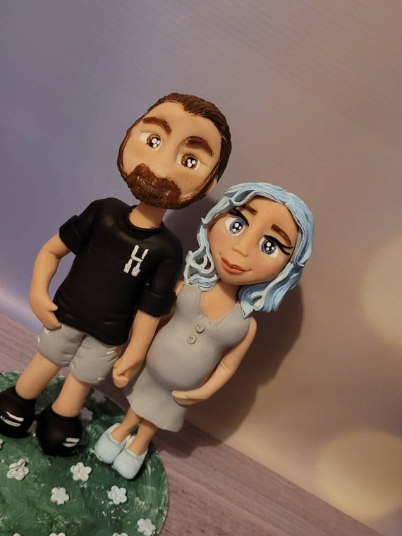 Personalised Baby Shower/ Pregnancy Announcement/Gender Reveal Figurines - Souvenir or Cake Topper - Polymer Clay