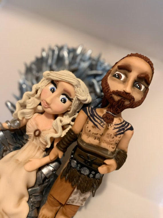 Personalised Wedding Cake Topper - GOT/Game of Thrones Wedding themed Bride and groom/Same Sex Couple