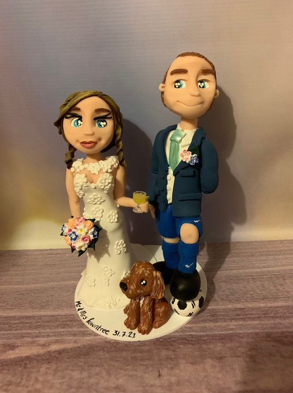 Personalised football themed Wedding Cake Topper - Bride and groom/same sex couple