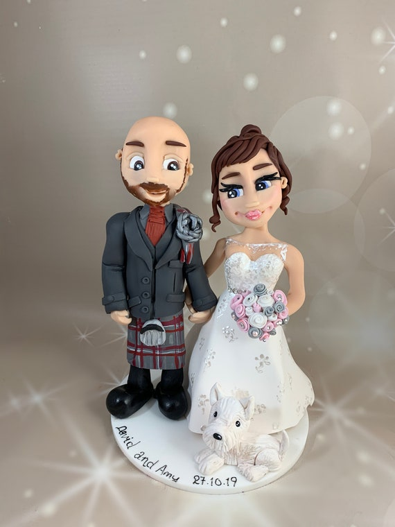 Custom Bride and Groom/Same Sex Couple in kilt cake topper - Personalised - Wedding Present Idea