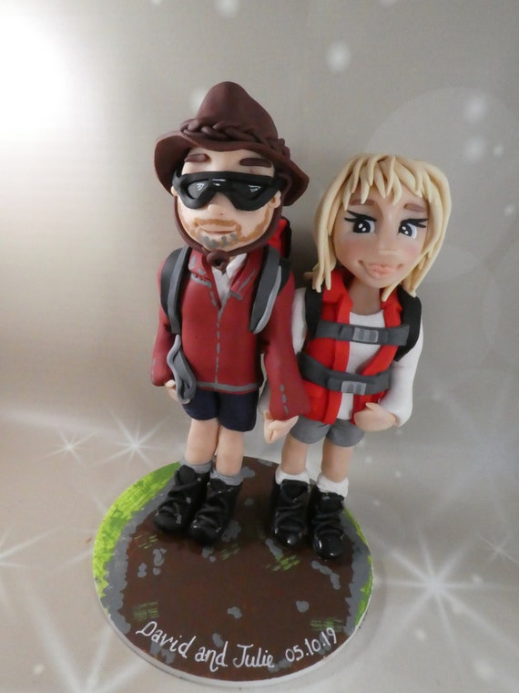 Personalised Wedding Cake Topper - figurines bride and groom/Same Sex Couple - Walking/Hiking Backpacking theme