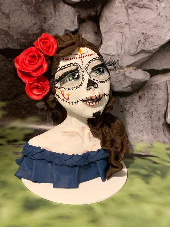 Day of the dead head and shoulders/Bust sculpture. Hand made and Hand painted. Made to order in any colour combination.