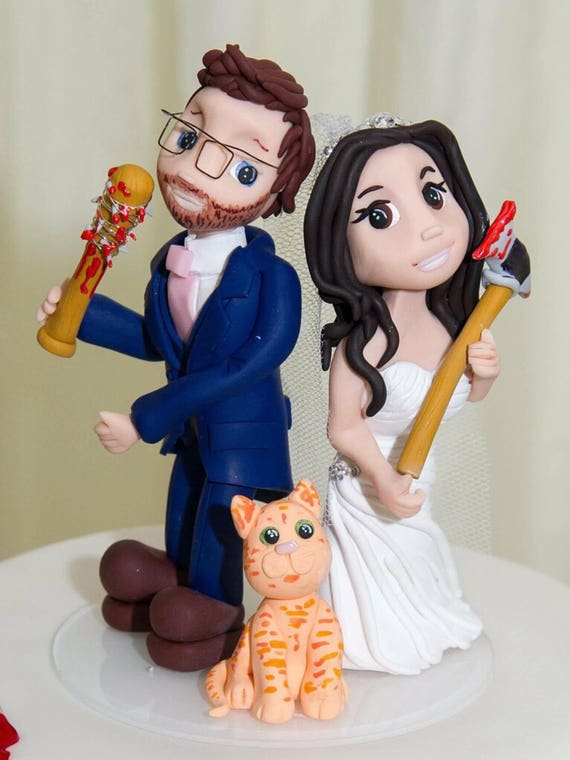 Fully personalised Zombie hunter clay Wedding Cake Topper highly detailed and fully sculpted Keepsake - Bespoke Premium Service