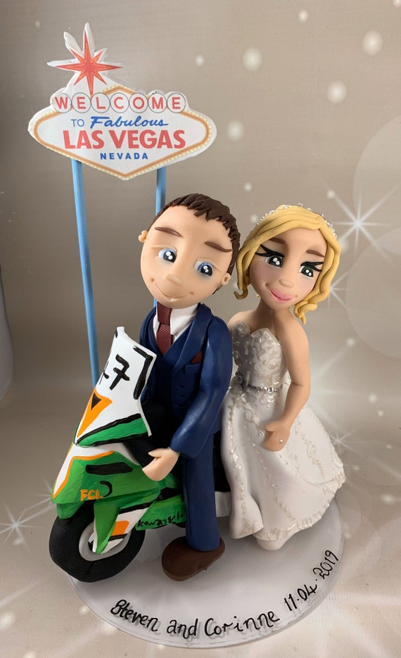 Wedding cake topper - Las Vegas Wedding, bride and groom/same sex couple with sign