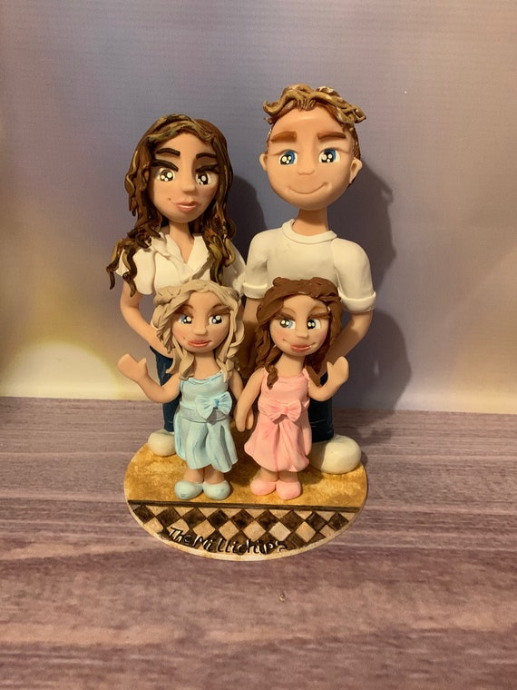 Lockdown doorstep photos in 3D Family Portrait Figures - Custom Made Clay Figurines - Covid lockdown family