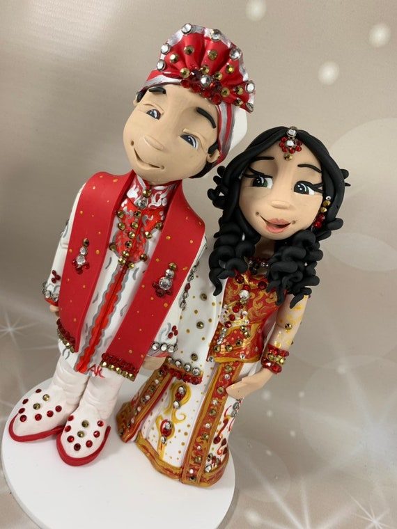Personalised - Asian/Indian Wedding Cake Topper - Keepsake - bride and groom figures - using only top quality crystals for decoration.!