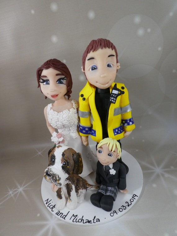 Personalised Wedding Cake Topper - bride and groom/same sex wedding - work uniform.
