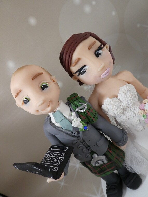 Bride and groom cake topper - teacher Personalised Wedding Cake Topper