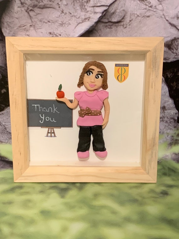 Personalised gift for Teacher - polymer clay figure in frame. 15cm x 15cm
