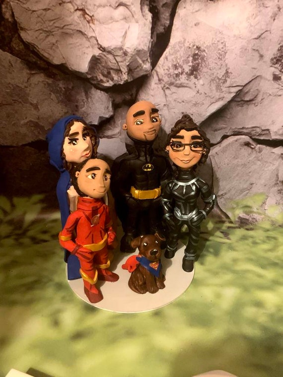 Family group - 3d polymer clay portrait - prices from 3 figures upwards - superhero family