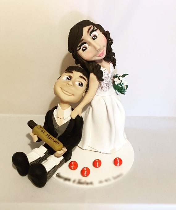Personalised wedding cake topper - cricket themed bride and groom/same sex couple. Wedding gift or keepsake