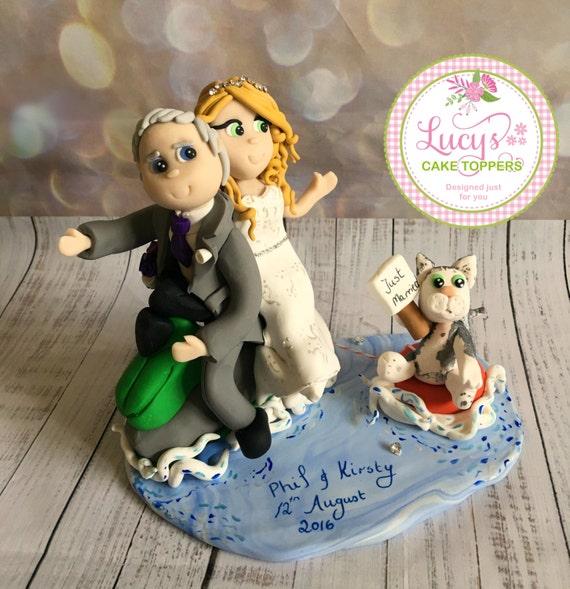 Wedding cake Topper jetski / sailing/ Boat Bride and Groom - a lovely keepsake fully handmade