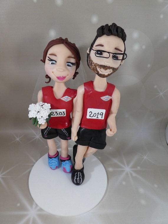 Personalised Wedding Cake Topper Bride and Groom Running/Keep Fit
