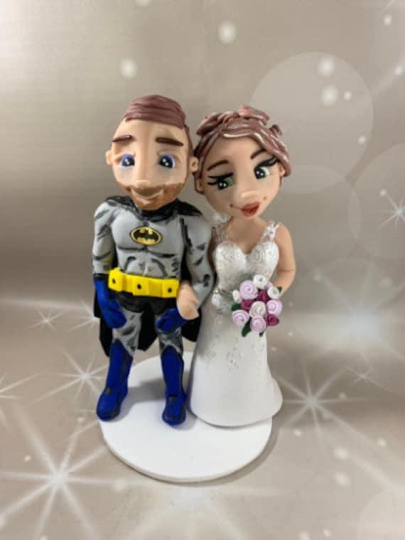 Personalised Wedding Cake Topper - figurines bride and groom/Same Sex Couple - Superhero Theme /Vintage Batman