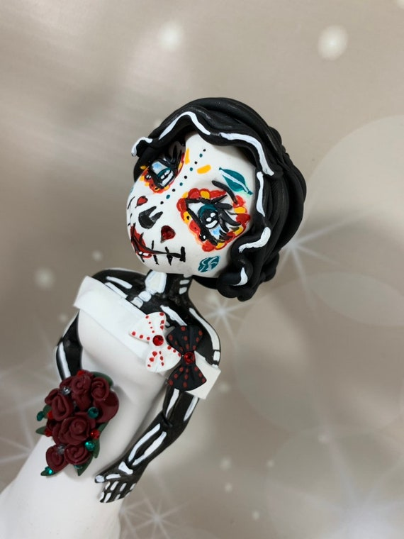 Personalised Wedding Cake Topper - bride and groom. Day of the Dead/Halloween