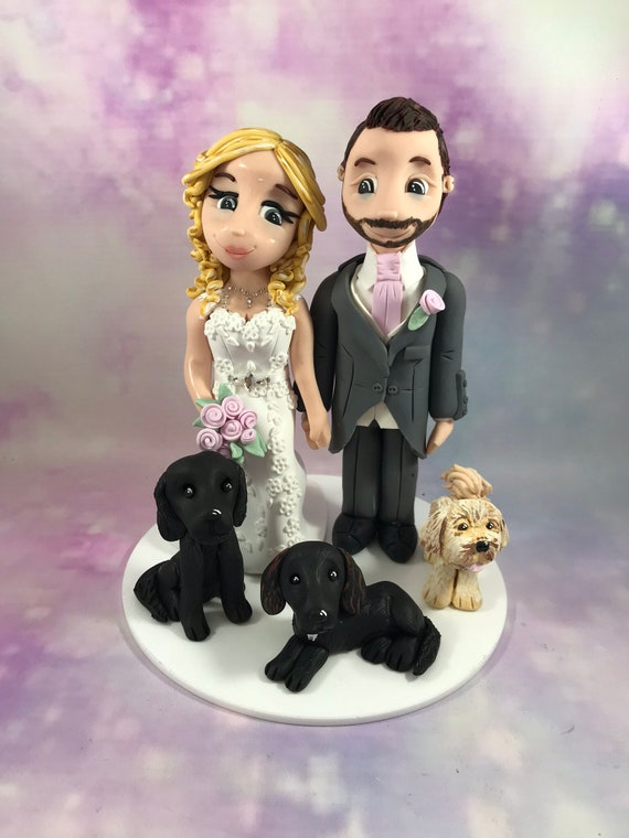 Personalised Wedding Cake Topper - bride and groom figurines with dogs