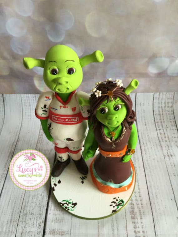 Personalised Wedding Cake Topper - figurines bride and groom/Same Sex Couple - Shrek Style Wedding Cake Topper