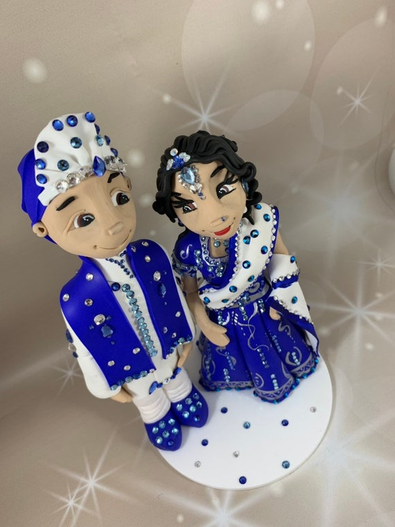 IN STOCK - Asian/Indian Wedding cake topper - blue/crystals/ bling