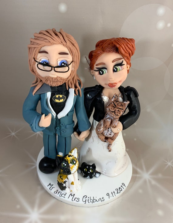 Personalised Wedding Cake Topper - bride and groom unconventional wedding, rock and roll bride.