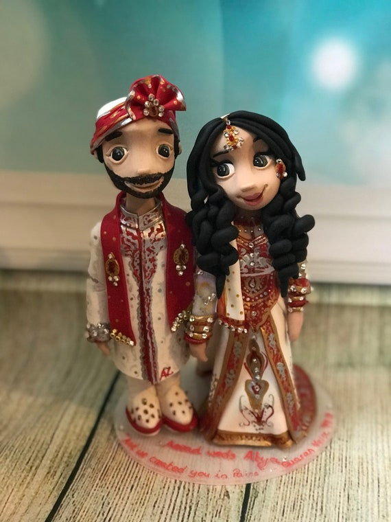Wedding Cake Topper - Asian/Indian Bride and Groom