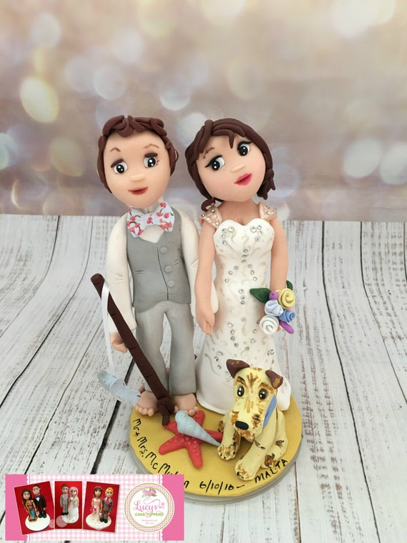 Beach theme - Wedding cake topper - personalised bride and groom.