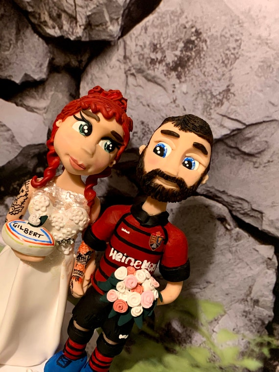 Personalised Wedding Cake Topper - figurines bride and groom/Same Sex Couple Rugby Theme