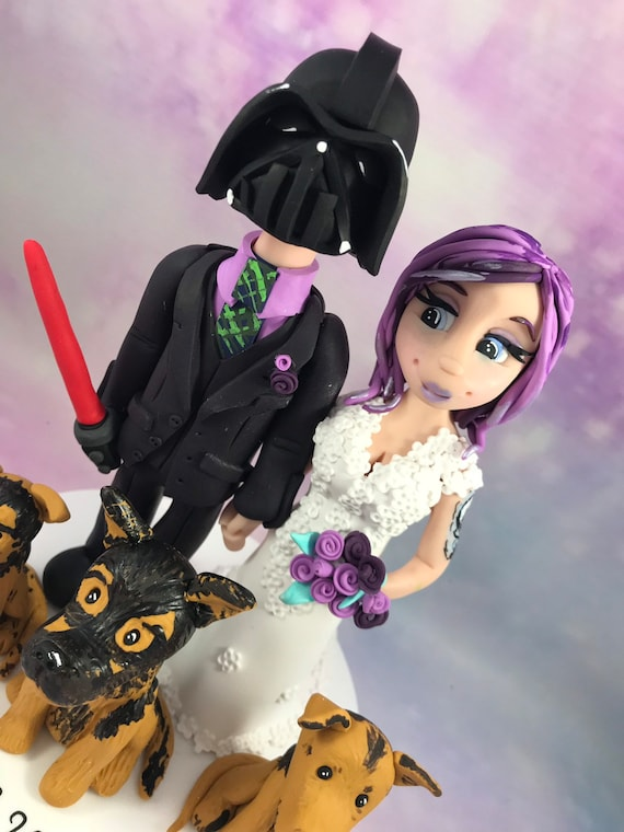 Fully personalised Wedding Cake Topper / wedding gift. Highly detailed and fully sculpted by hand. Darth vader!