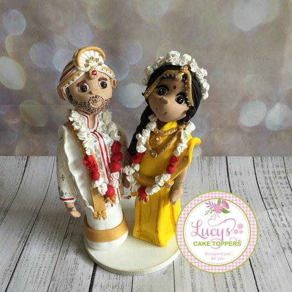 Personalised Hindu/South Indian Wedding Cake topper bride and groom figures