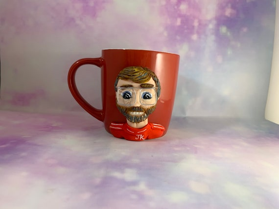 Celebrity face Personalised portrait mug - polymer clay face on a mug - great gift idea!