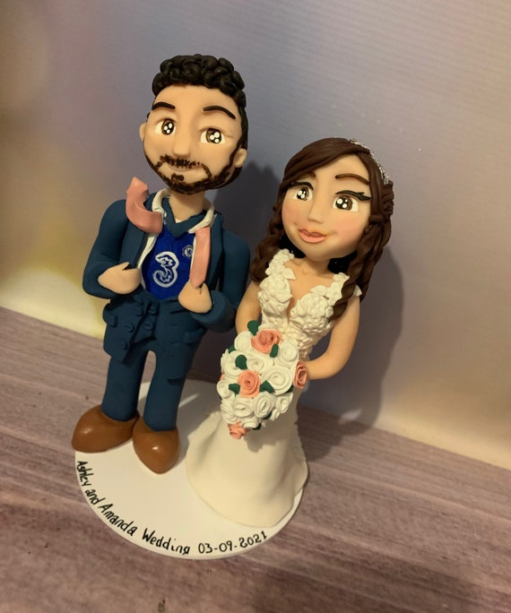 Personalised football scarf and/or shirt Wedding Cake Topper - Bride and groom/same sex couple