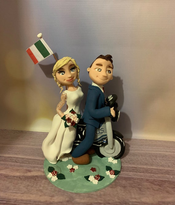Personalised Wedding Cake Topper - figurines bride and groom/Same Sex Couple with bike/Motorbike