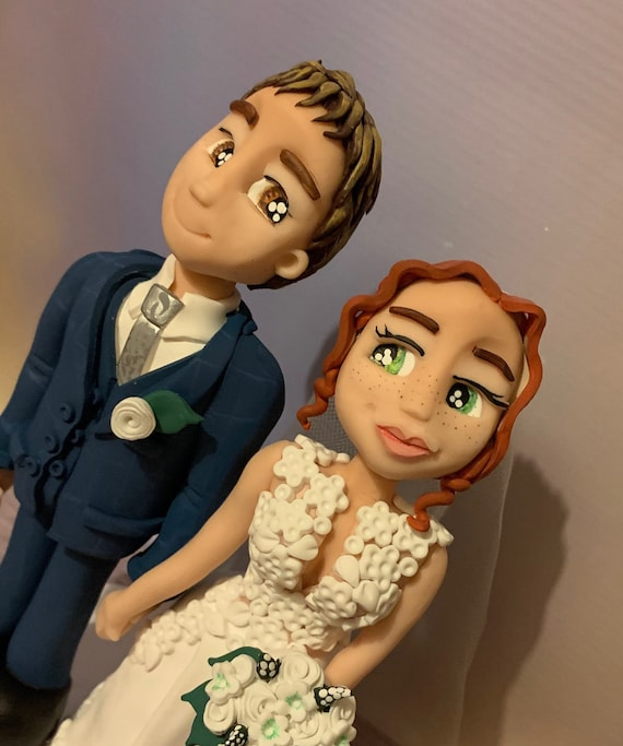 Personalised Wedding Cake Topper Bride and Groom/same sex couple - cute romantic couple