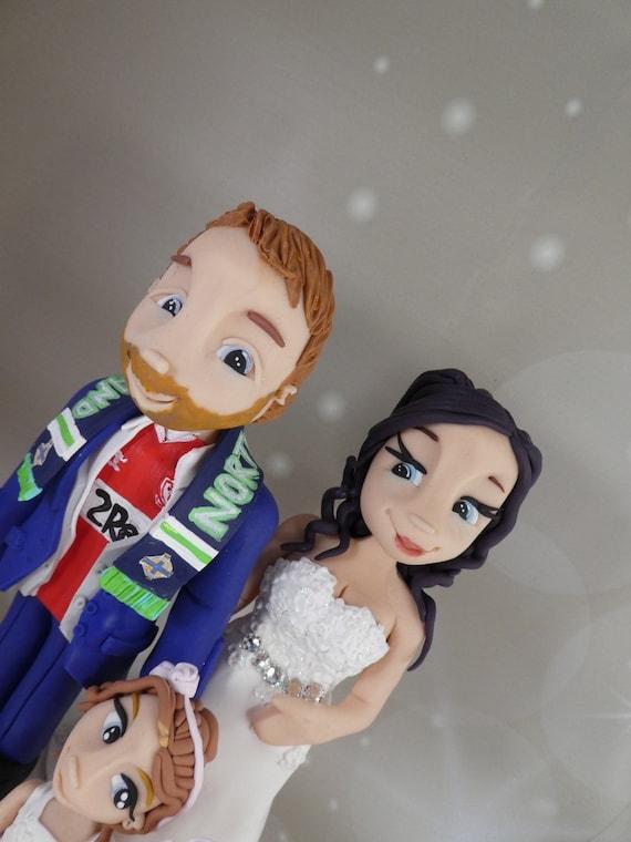 Wedding Cake Topper - bride, groom and kids