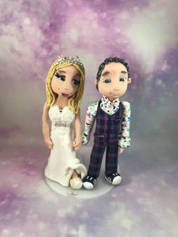 Personalised Wedding Cake Topper - Bride and Groom  Figurines - Funky couple - Dreadlocks/Tattoos/Piercings