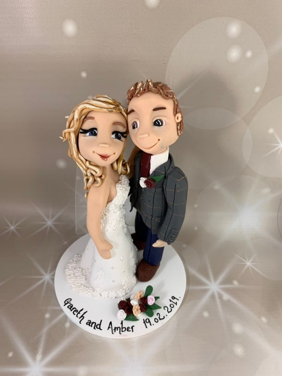Personalised Wedding Cake Topper - bride and groom hugging