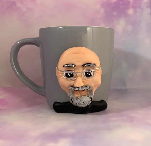 Personalised portrait mug - polymer clay face on a mug - Birthday Gift