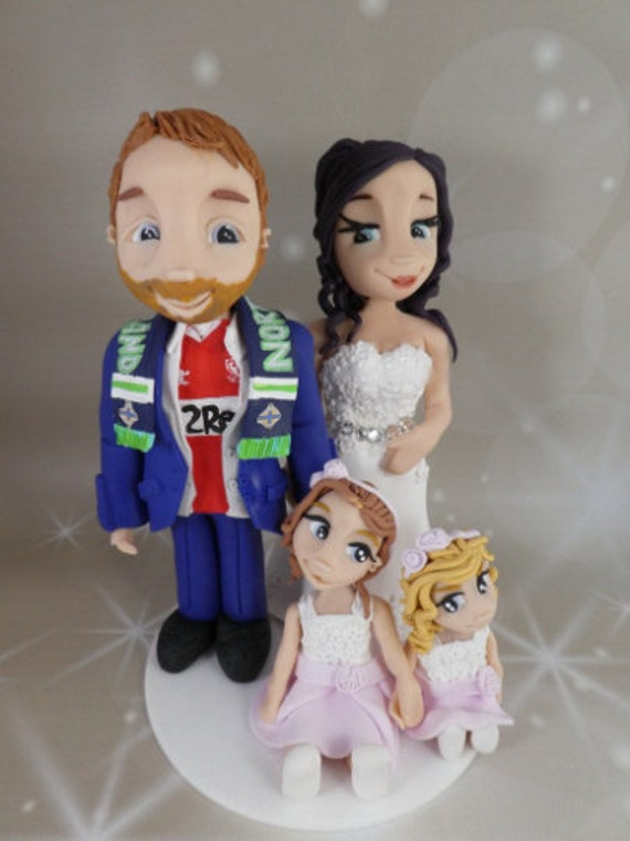 Personalised Wedding Cake Topper - figurines bride and groom/Same Sex Couple Football theme