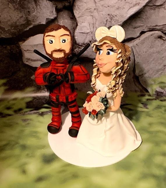 Personalised Wedding Cake Topper - figurines bride and groom/Same Sex Couple - Superhero Theme /Deadpool