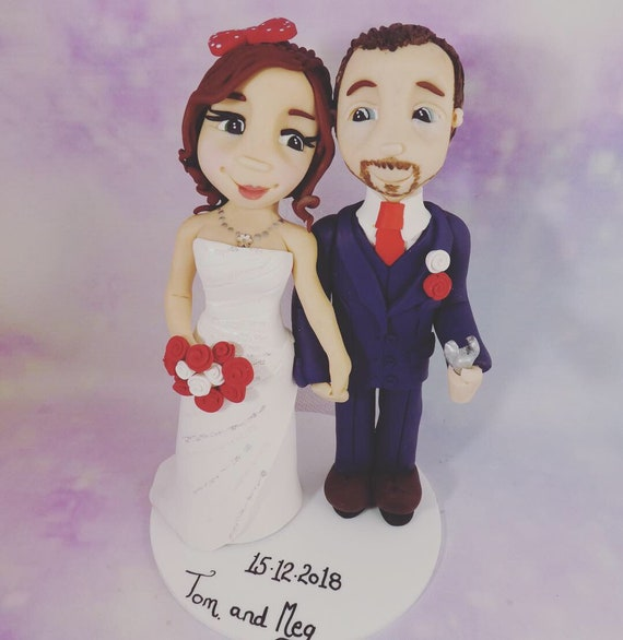 Fully personalised clay wedding cake topper, bride and groom/same sex wedding. Disney theme